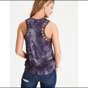 AEO Soft & Sexy Cage Detailed Muscle Top In Purple
